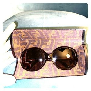 Fendi dark brown and gold sunglasses
